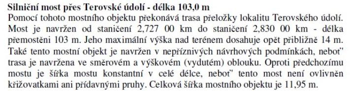 Informace o dlouhém mostu v Terovském údolí