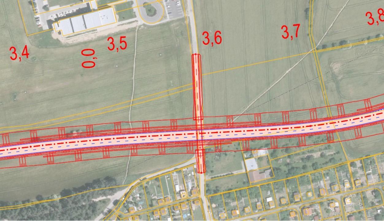 Ukázka komunikace ležící v blízkosti zahrádkářské oblasti a zdravotního střediska Poliklinika