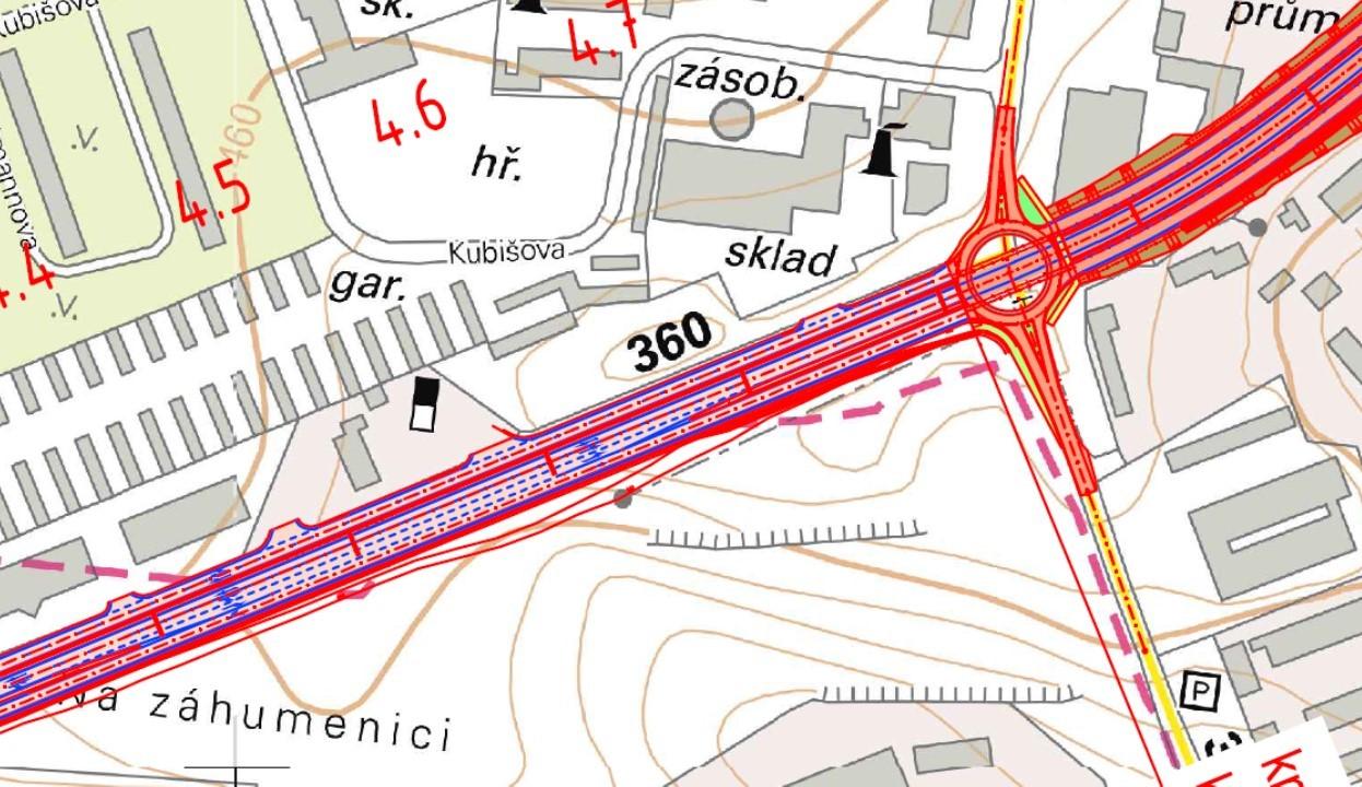 Šestipruhová silnice nahrazující současné dva pruhy na ulici Spojovací