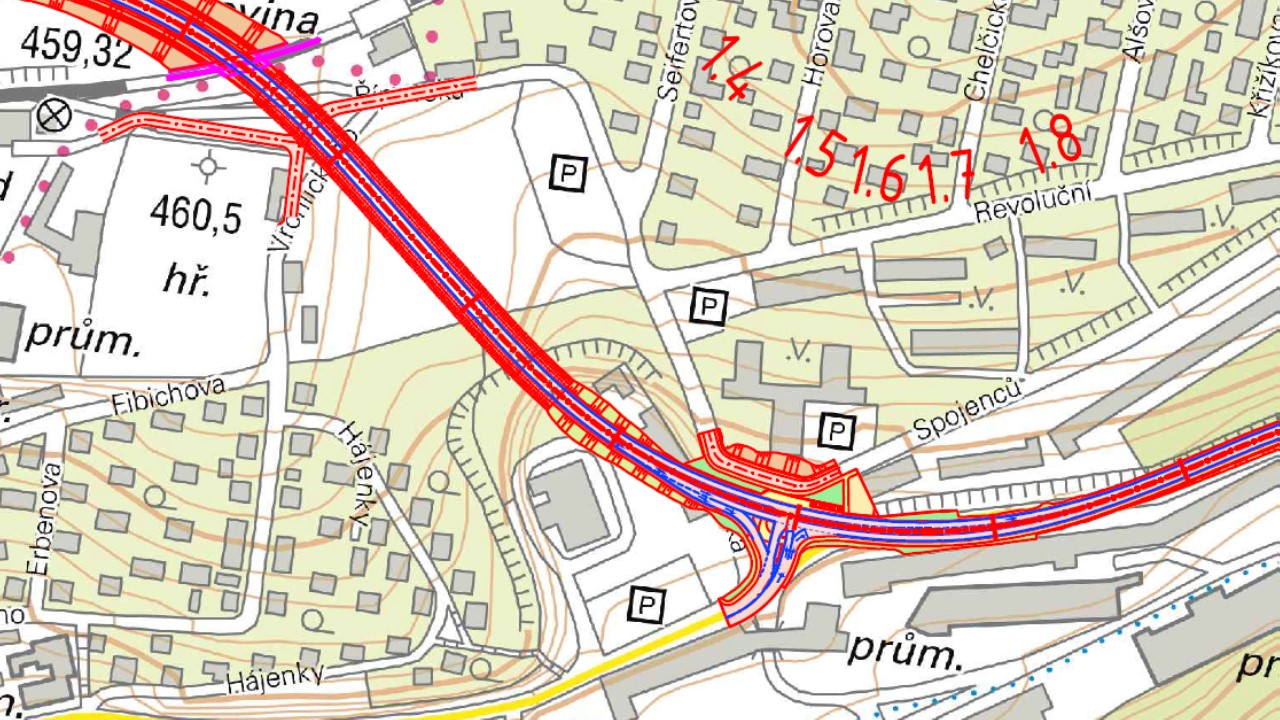 Situace ukazující zánik spojení mezi starou a novou Borovinou na křižovatce Koželužská - Řípovská