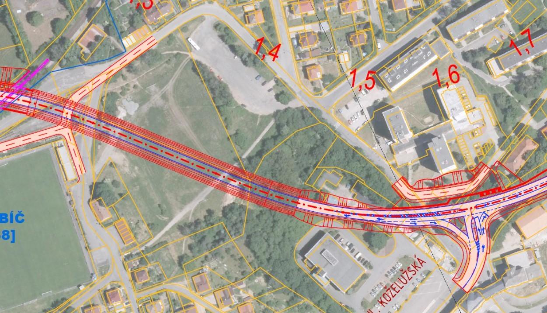 Obchvat - tunel + křižovatka - letecká