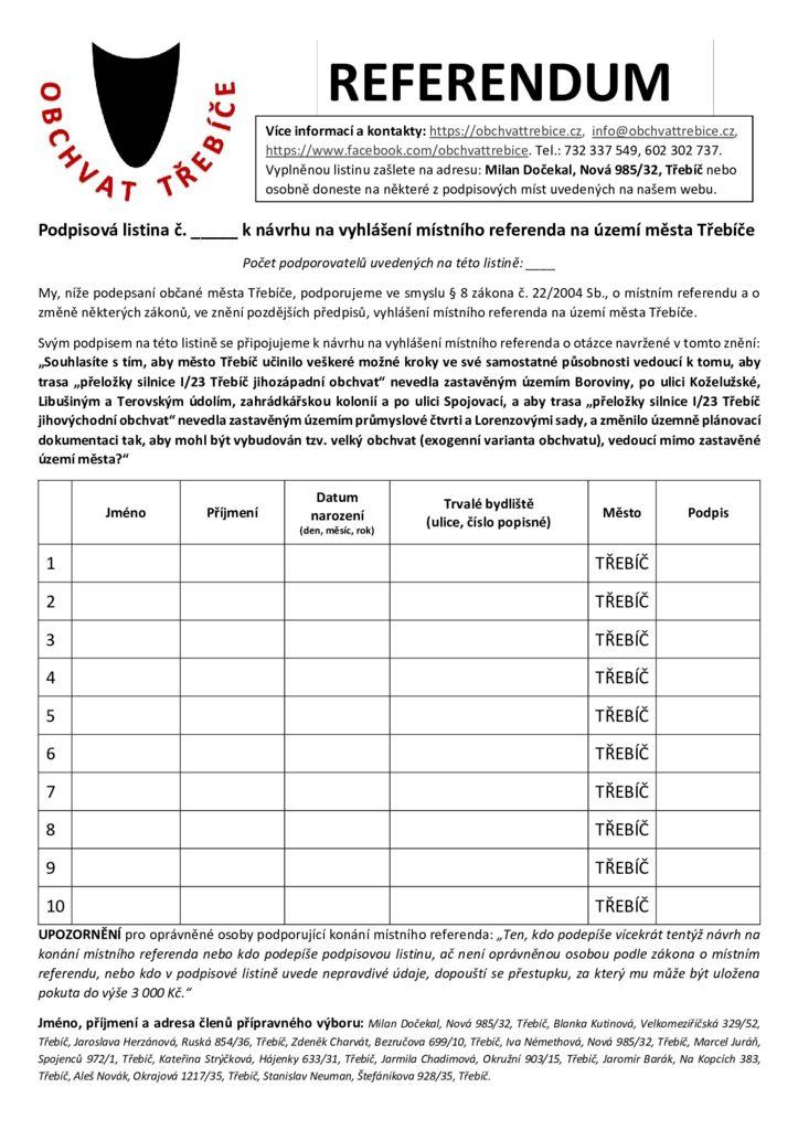 thumbnail of Podpisová listina k návrhu na vyhlášení místního referenda na území města Třebíče