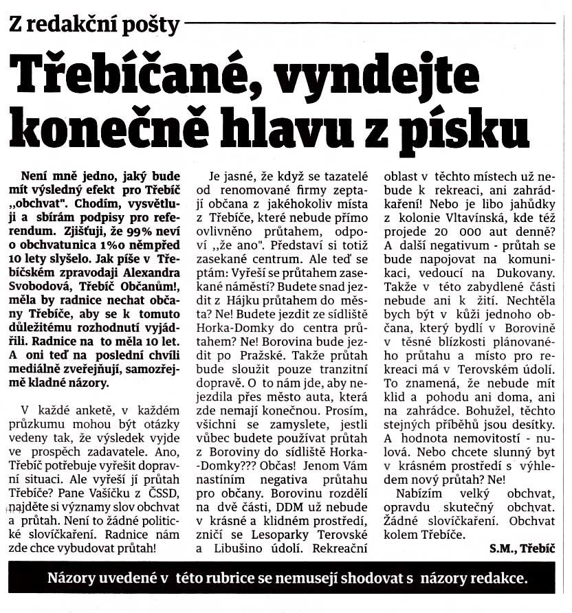 Článek byl též uveřejněni v Horáckých novinách 4. července 2018