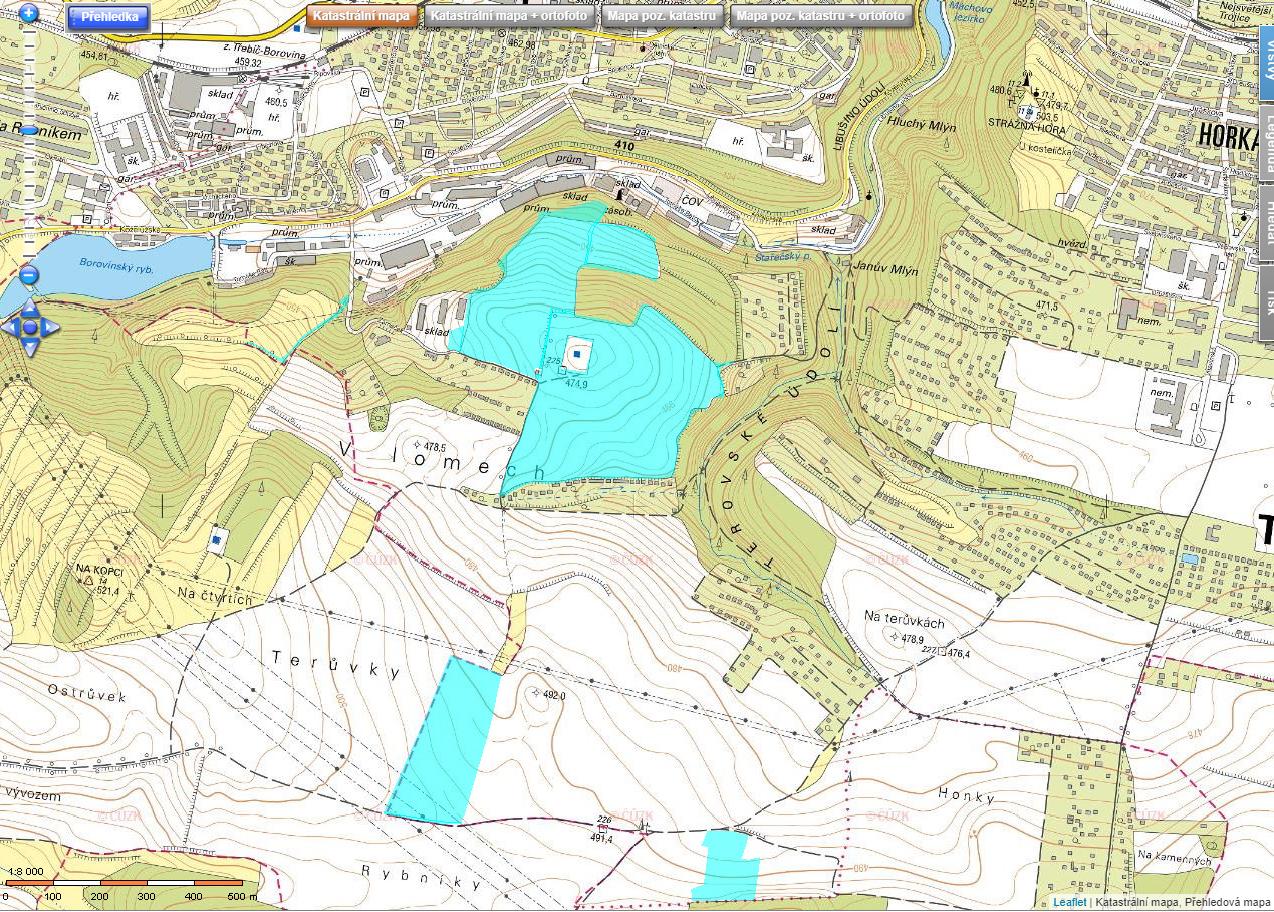 Na tomto obrázku jsou vyznačeny světle modrou barvou všechny pozemky Richarda Horkého jižně od BOPA